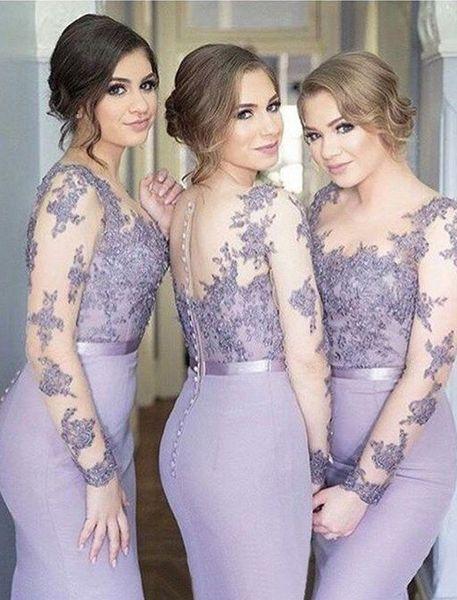 Nuevos Vestidos de dama de honor de color lila Sirena Cuello transparente Mangas largas Barrer Tren Vestidos de dama de honor con apliques de encaje Ilusión Volver Formal