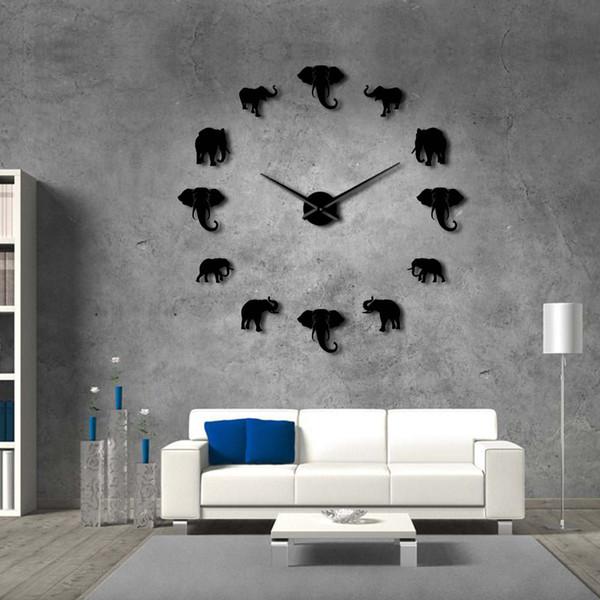 37inch giungla animali elefante fai da te grande orologio da parete decorazioni per la casa design moderno effetto specchio gigante elefanti senza cornice fai da te orologio orologio