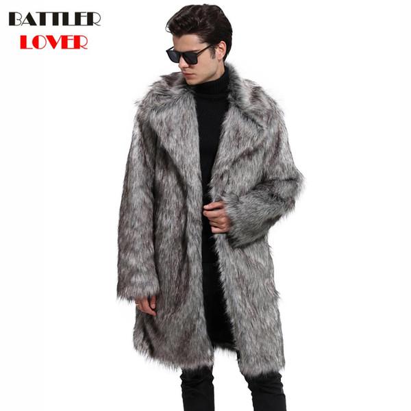 2018 Mens Fur Coat Winter Warm Outwear Coats Faux Fur Men Punk Parka Jackets Hombre Leather Overcoat Genuine Brand Clothing