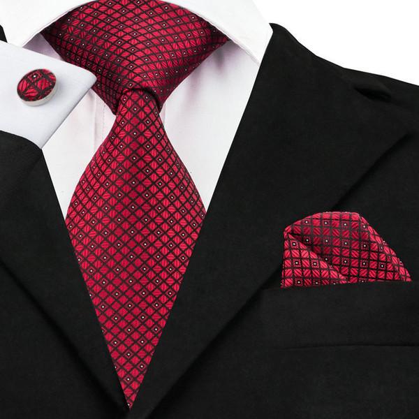 Rojo Mantas Cheques lazos para los hombres corbatas Pañuelo gemelos conjunto de novia nuevo diseñador ocasional de negocios para hombre del partido corbata C-704
