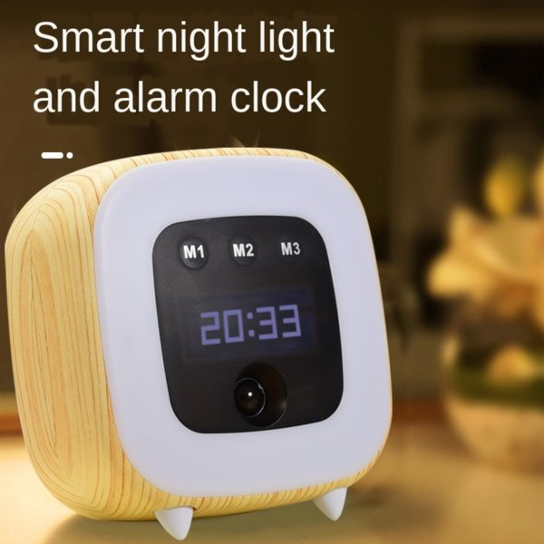 top popular Small can only be induced with alarm clock time charging children's bedside Night Light Night Light sleep baby nursing bedroom bedside desk 2021