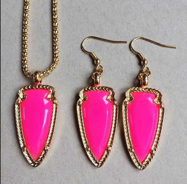Fashion Gold Color Metal Candy Colors Arrowhead Resin Earring Necklace Jewelry Sets For Women Earring pendant necklace combination set