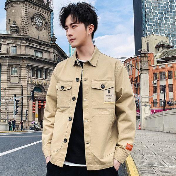 2019 otoño chaqueta de moda chaqueta de hombre nuevo tipo marca de marea masculina suelta casual juvenil herramientas abrigo masculino W672