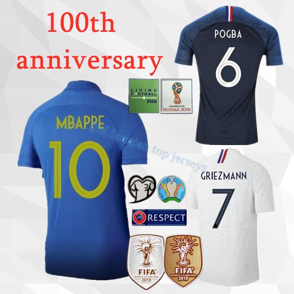S-4XL 2019 2020 100º aniversario POGBA MBAPPE Camisetas de fútbol GRIEZMANN KANTE GIROUD DEMBELE 19 20 Hombre Juventud 100 años Camiseta de fútbol