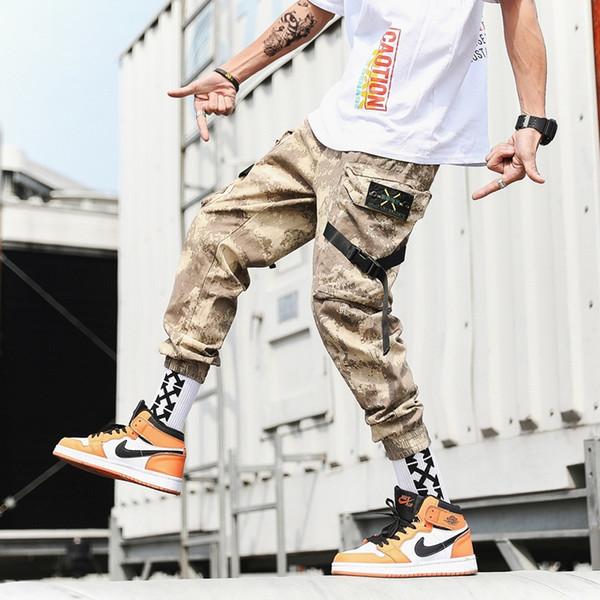 Streetwear Harem Joggers Erkekler Kurdela Yan cepler Kamuflaj Erkek Pantolon Rahat Ince Kargo Pantolon Adam Için