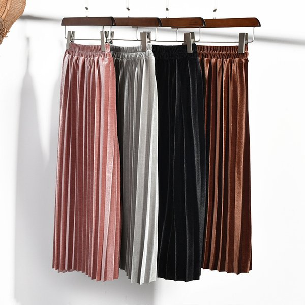 Everweekend Sweet Kids Big Girls Ruffles Velvet Skirts Candy Color Western Brown Pink Gray Color Cute Spring Autumn Skirts Party Clothing