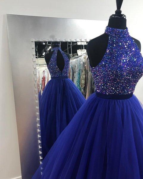 Robe de bal Bling bleu royal en cristal 2019 Robe de soirée col haut Tulle Une ligne dos nu Photos réelles Keyhole Retour Robe de soirée