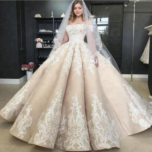 Vintage Puffy Light Champagne Wedding Dresses Off The Shoulder Applique 2019 Off Shoulder Plus Size Church Garden Princess Bridal Gowns