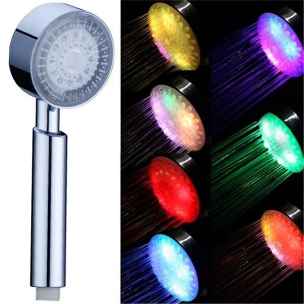 Recentemente Colorful 7Color Handheld LED luce romantica di acqua bagno di casa Bagno Doccia testa Glow