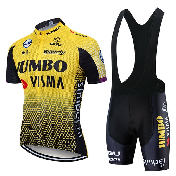 2019 Pro Team Giallo Nero Traspirante 5D Gel Pad Abbigliamento da ciclismo Abbigliamento da ciclismo a maglia lunga 3 Tasca posteriore Ropa Ciclismo