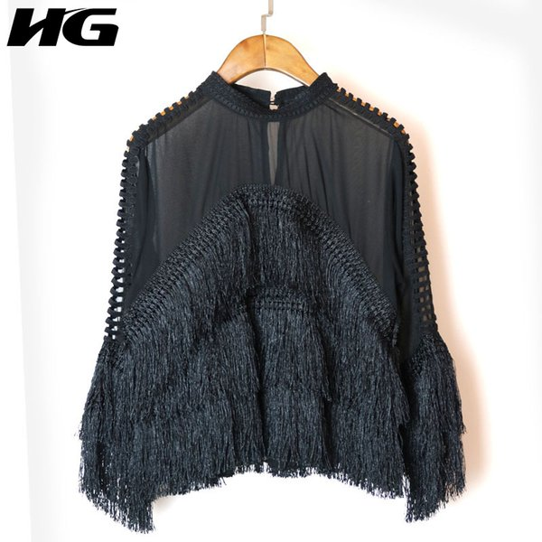 [hg] 2018 Spring New Korea Women Tassel Stand Collar Perspective Shirts Female Full Sleeve Hollow Out Loose Blouses Xww1976 J190614