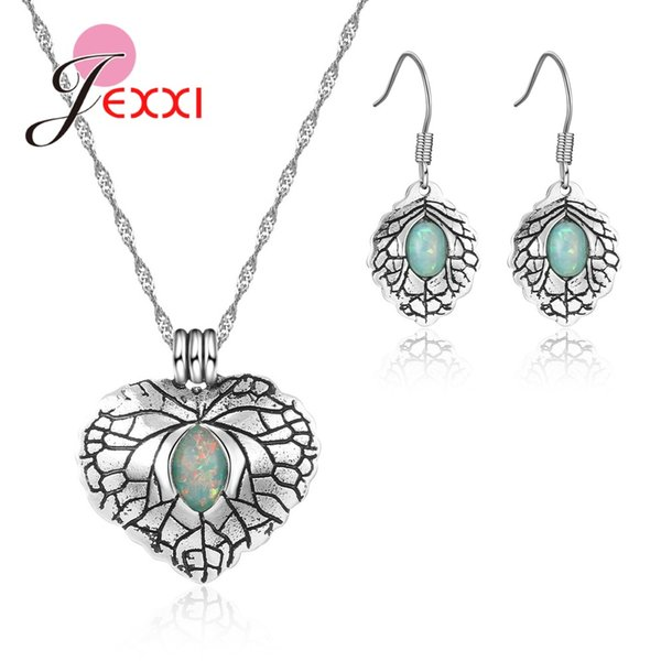 Jemmin Explosion Jewelry Retro Set 925 Sterling Silver Heart Shape Green Crystal Zircon Earrings Necklace Holiday Party