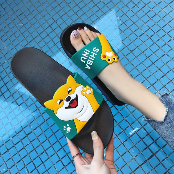 B1010 Cartoon Dog Women Summer Slides Shiba Inu Beach Slippers Platform Slide andals Shoes Sandalias Women Flip Flops