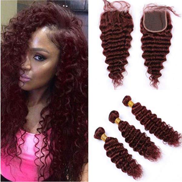 # 99J Вино Красный Бразильский Виргинские ткет волос с Closure Deep Wave переплетений Бургундии человеческих волос 3 Связки с Lace Closure Кусок 4x4