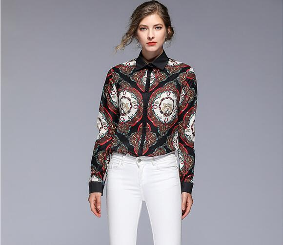 Floral chain Contrast Color printed long sleeve blouses OL style ladies shirt Spring lapel neck blouses for sale woman shirts