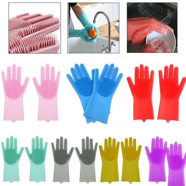 Hot Sale Magic Silicone Dish Washing Cleaning Gloves Heat Resistant Scrubber Glove Great for Dish wash Cleaning Pet Hair Care