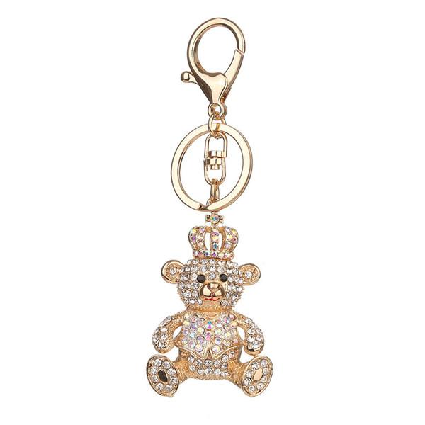 Rhinestone Inlaid Bear Key Chains Purse Bag Pendant Key Holder Ring Crystal Keychain