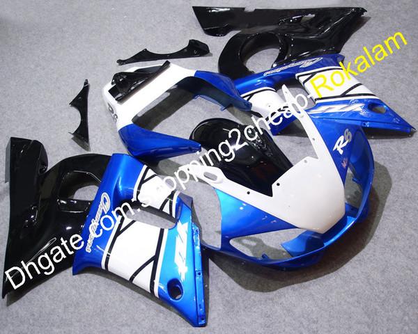 R6 98 99 00 01 02 Komplette Verkleidung für Yamaha YZFR6 1998-2002 YZF-600 Race Blau Weiß Schwarz Motorradverkleidung
