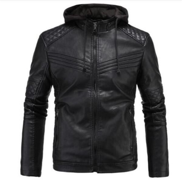 Homens de couro real motocicleta jaqueta removível capuz casaco de inverno homens quentes jaquetas de couro genuíno e casacos masculino bomber biker top