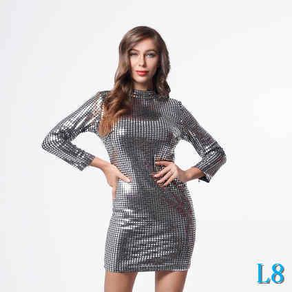 Robes Femmes Bling Bling Designer Robes sexy avec Paillettes Luxury Fashion Party Femmes manches longues Robes StreetwearL8