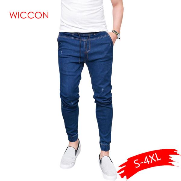 2019 Mode für Männer Harem Jeans Men Licht gewaschener Feet Shinny Jeanshosen Hip Hop Sport elastische Taillen-Jogger Hosen