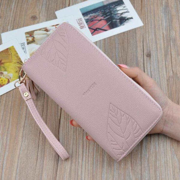 Factory wholesale women handbag new leaf embossed long purses large capacity leather women purses small fresh printed coin purses