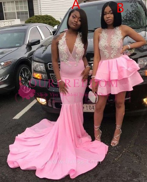 2019 Maxi Style Pink Cocktail Dresses White Appliques Short Mini Style Formal Evening Occasion Party Dresses 2k17 18 Hot Sale
