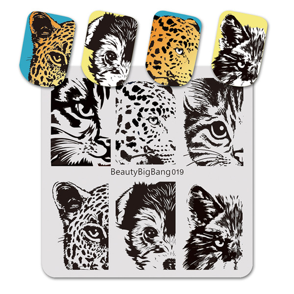 Wholesale cat images resale online - Art Templates BeautyBigBang cm Square Stamping Plate Lion Tiger Dog Cat Eye Image Nail Art Stamping Plate Template for Nail