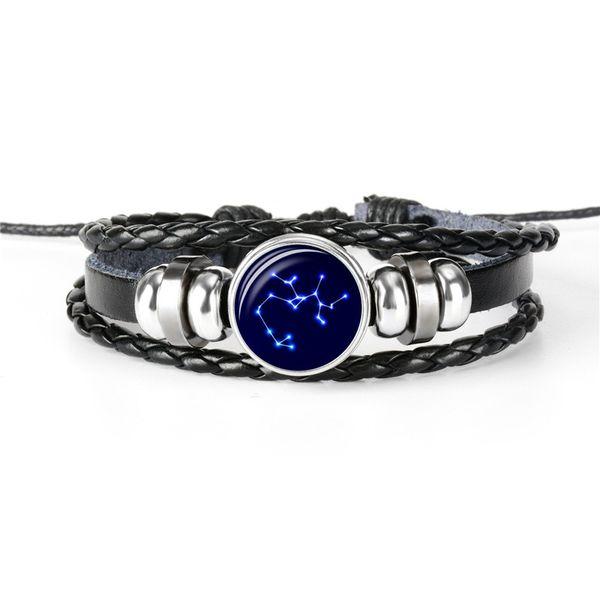 Fashion Weave Punk Vintage 12 Horoscope Zodiac Sagittarius Time Gem Glass Dome Charm Black Leather Rope Beaded Bracelets Mens Womens Jewelry
