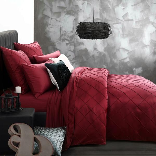 linge de lit de luxe lavé soie vérifie brodé chèques literie ensemble roi reine taille housse de couette drap taie / turquoise