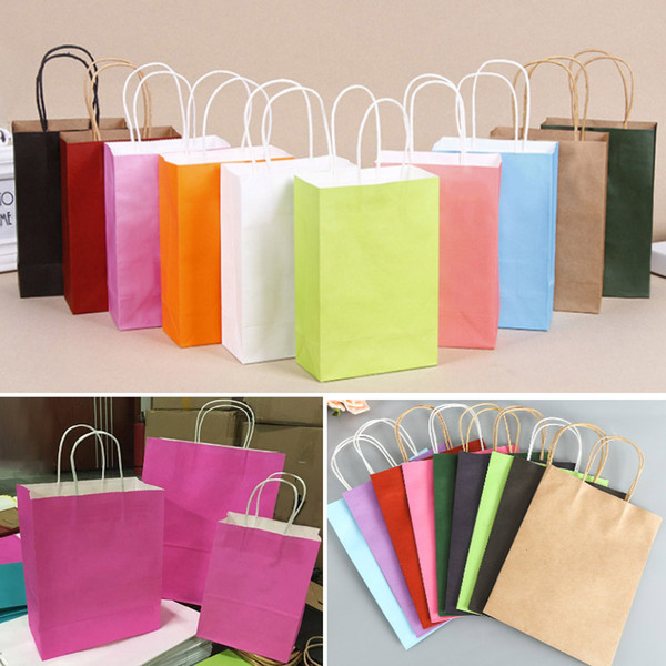 Kraft Paper Bag Portable Candy Color Gift Bag With Handles Store Packaging Bag Shopping Bags Gift Wrap HH7-1946