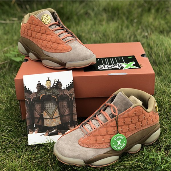 CLOT X 13s Low Terracotta Warriors Basketball Shoes Newest Released Mens Women Designer Trainer Sports Shoes Size 7-13