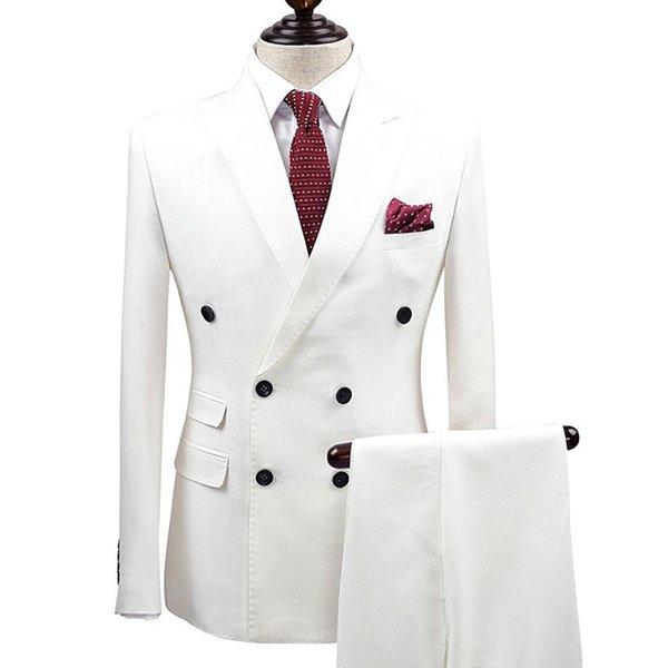 Slim Fit White Men Suits Double Breasted Wedding Groom Tuxedos 2 Pieces (Jacket+Pants) Suits Best Man Prom Business Wear Blazer