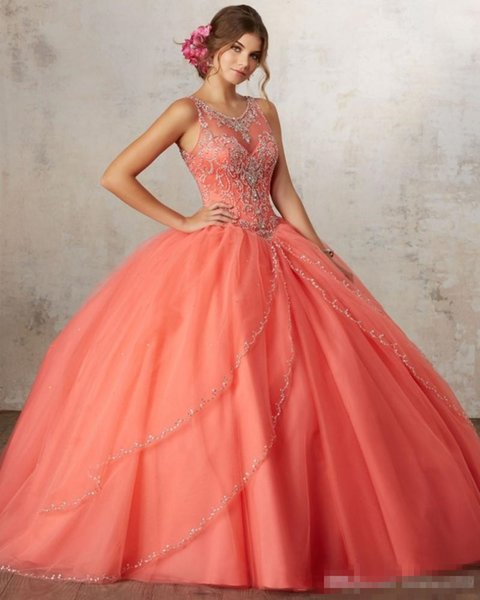 2019 Luxury Coral Quinceanera Dresses Ball Gown Beaded Rhinestones Sweet 16 Year Princess Dresses For 15 Years Prom Dresses Evening Gowns