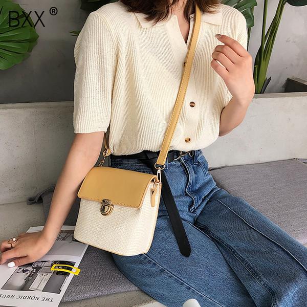 [BXX] das Mulheres 2019 Patchwork Cor Grande Capacidade Bucket Bag Praia Palha Tecelagem Única Bolsa de Ombro Crossbody HE497
