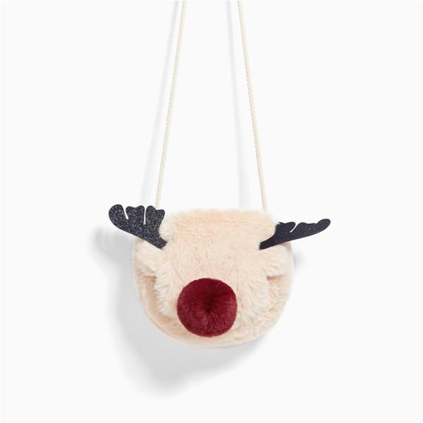 Harajuku Cartoon Red Nose Reindeer Plush Women Bag Mini Elk Female Shoulder Messenger Bag Party Phone Christmas Small