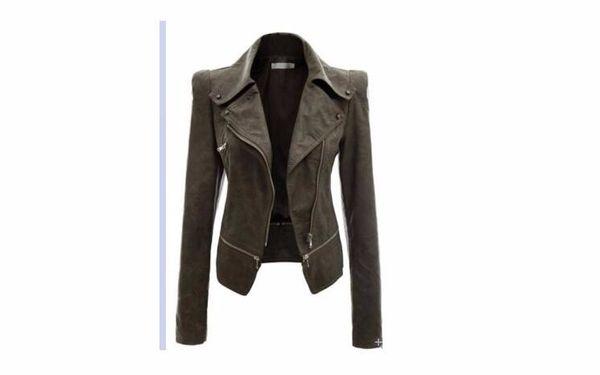 Fashion- - Veste en cuir pour femmes Rivet Zipper Veste de moto à col rabattu chaquetas mujer Motif Argyle Veste en cuir S-3XL