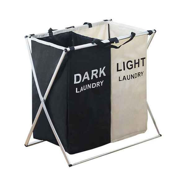 best selling Laundry Basket Two Three Grids Dirty Clothes Storage Basket Organizer Bags Collapsible Waterproof Folding Large Laundry Hamper