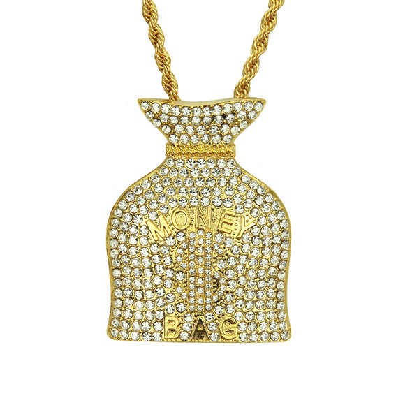 New selfdesign Hiphop jewelry necklace Crystal Hip hop pendant necklace for men Money bag shape gold pendant jewelry wholesale