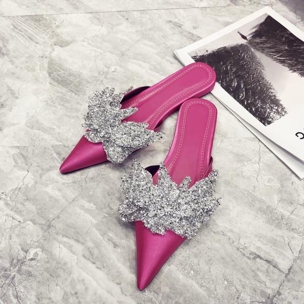 2018 Satin Pointed Toe Women Sandals Luxurious Flowers Rhinestone Women Flip Flop Muller Slippers Women Flat Shoes W682