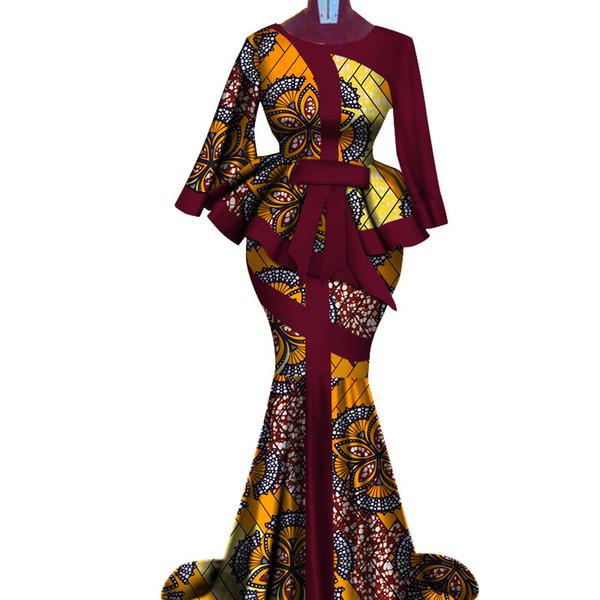 Impressão de Cera africano Two Piece Set Bazin Riche elegante Africano Tradicional Vestuário Dashiki Top Colheita e Saia Define WY3792
