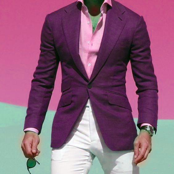 New Style Purple Men Wedding Tuxedos Notch Lapel Slim Fit Groom Tuxedos Popular Dress Men Business Dinner/Darty Suit(Jacket+Pants+Tie)276