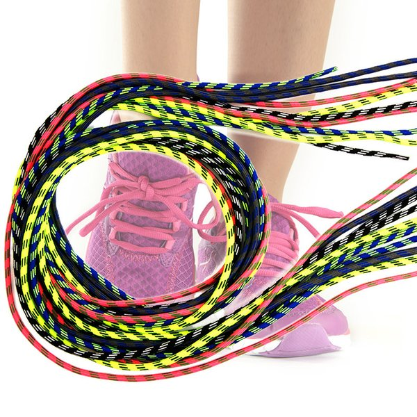 120 cm 8 Colors Round Shoelaces Fashion Casual High Density Striped Shoestring Polyester Sports Hiking Sneakers Shoelace