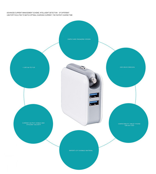 2en1 Cargador de Pared Compacto Convertidor de Coche Puerto USB Dual 5V 2.1A Cargador de Viaje a Casa Plegable de Carga Rápida Adaptador de Corriente AC / DC