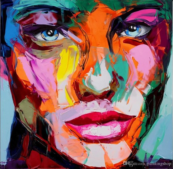 Francoise Nielly Palette Knife Impression Home Artworks Modern Portrait Handmade Oil Painting on Canvas Concave and Convex Texture Face202