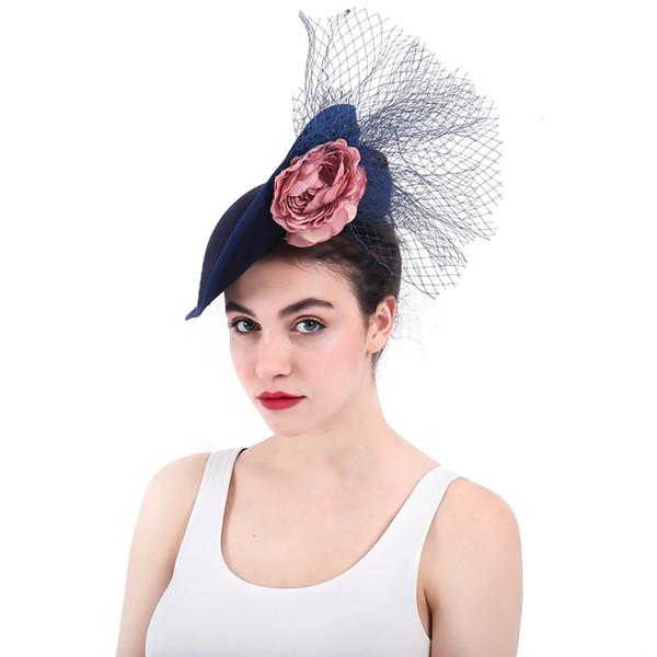 Fascinators Bridal Hats Navy Blue Women's Formal Party Hair Accessories with Flowers Beaded pamelas sombreros bodas