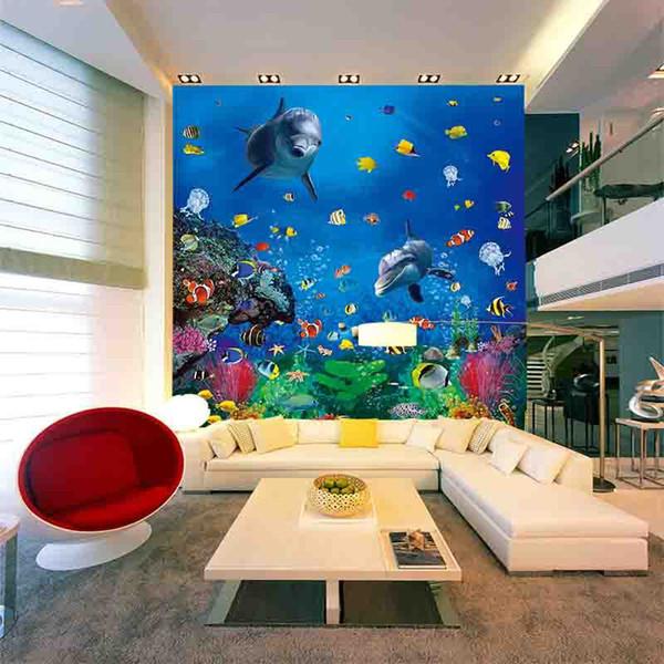 Colorido oceano peixe papel de parede peixe bonito mural 3D decoração da parede crianças quarto crianças parque de diversões bebê piscina papel de parede interior