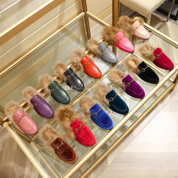 Designer Men Women Princetown leather velvet Fur slippers women loafers with soft fur lady mens mules casual flats with box size EUR34-46