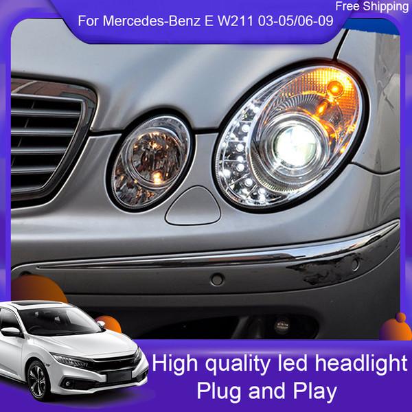 stying carro para Mercedes-Benz E W211 03-05 / 06-09 E200 E240 E280 E300 E350 LED Angel Eyes DRL LED Daytime Cabeça Luzes Lamp Frente