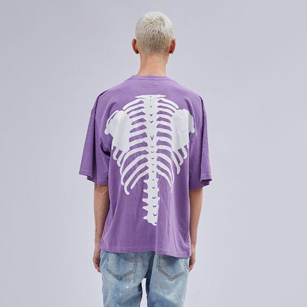 T-shirt Vintage Pourpre Hommes Hip Hop Relaxed Fit Tee-shirt À Manches Courtes